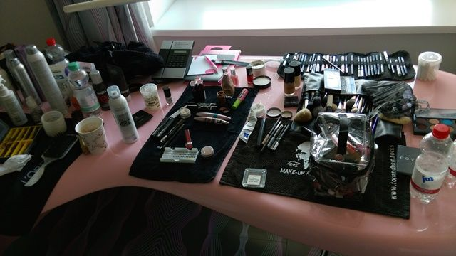 #MakeUP and #Hair table in the room @ #NHOW for the #Fashion and #Tech Shoot.