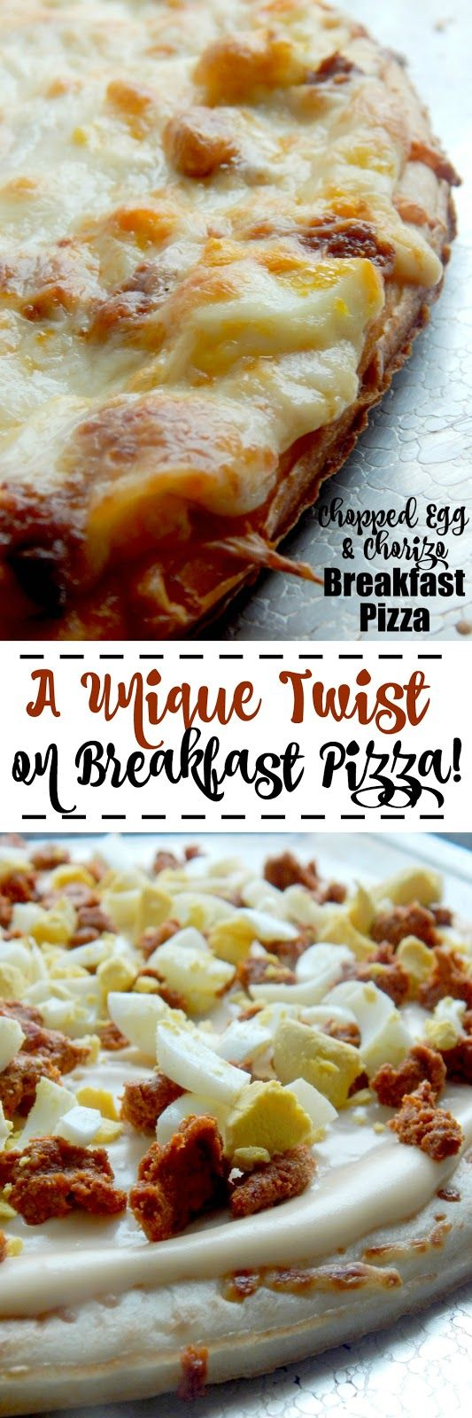 Chopped Egg & Chorizo Breakfast Pizza...a brillant way to use up hard boiled eggs! Fun, creative, tasty, who doesn't love pizza?