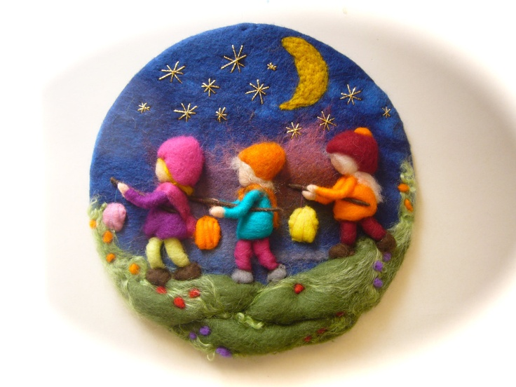 Lantern Walk, Picture,tapestry,Wet felted,Needle Felted. Waldorf. $48.00, via Etsy.