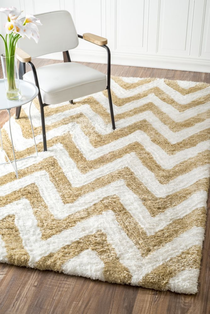 $5 Off when you share! Grace Chevron Shag Tan Rug | Contemporary Rugs #RugsUSA