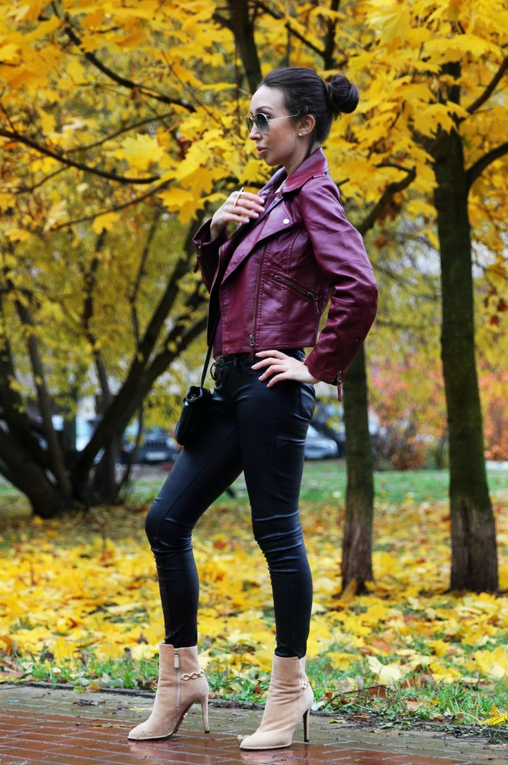Fall`s outfit faux leather jacket + faux leather skinny pants and #DianeVonFurstenberg shoes