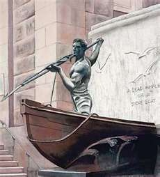New Bedford, MA - The Whaleman Statue, in front of the Main Library, Downtown - donated to the city in 1913