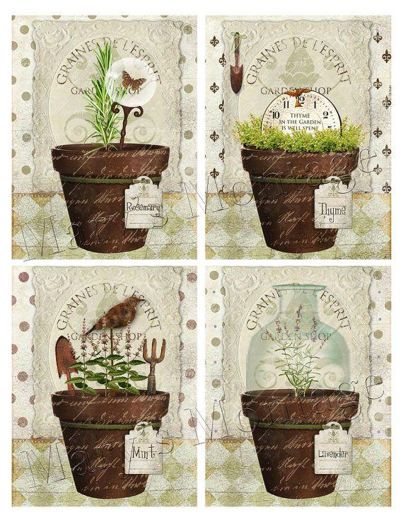 Herb pots  Original digital art  Cardmaking by MarysMontage, $2.00