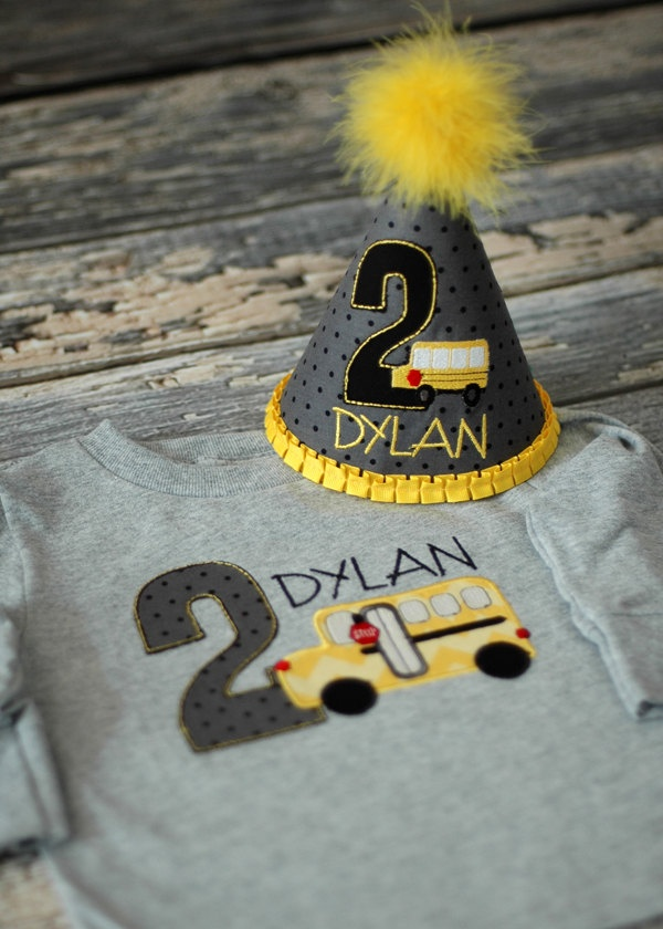 School Bus Birthday Party Hat and Tee - First Birthday, Any Birthday, Smash Cake Pics, Photo Prop - Wheels on the Bus. $54.00, via Etsy.