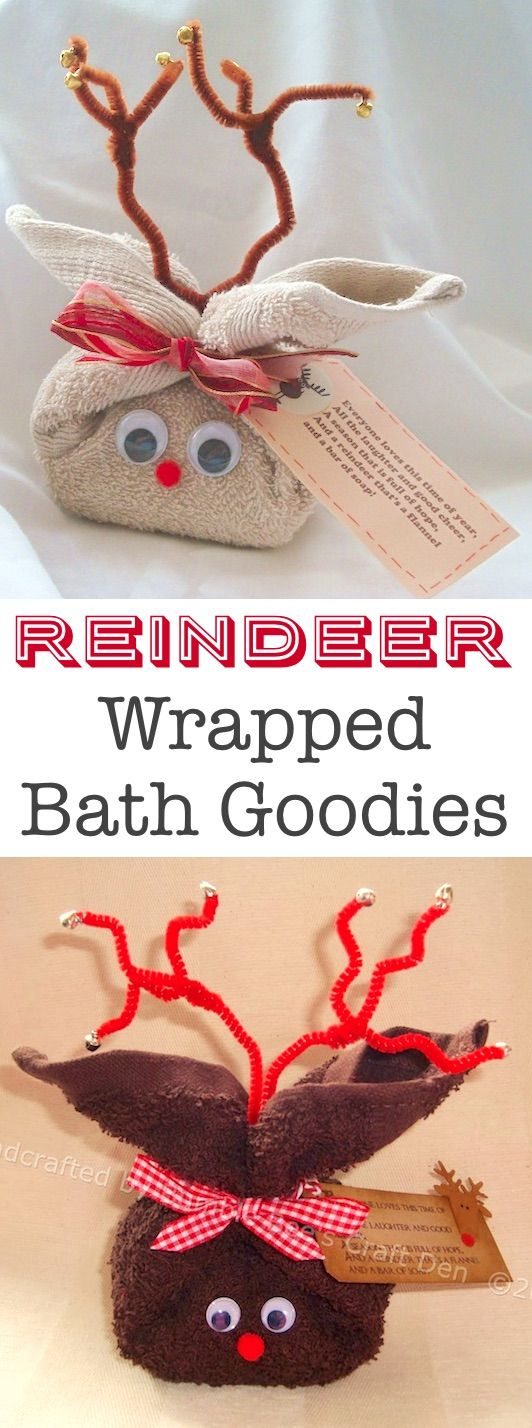 Reindeer wrapped bath goodies— Cute DIY gift idea for Christmas! -- Easy DIY cheap gift ideas for Christmas, birthdays, boyfriends, girlfriends, family, friends and more! These simple, last minute crafts and projects make for special gifts anyone can do! Creative ideas to sell too! Listotic.com
