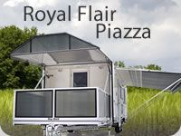 Royal Flair are proud to introduce you to our latest model, The Piazza.  The Piazza is truly a revolution to the Caravanning Industry, boasting its very own deck that sits neatly over the A-Frame. With a set-up time of less than 2 minutes, The Piazza is completely unique and will absolutely leave you the envy of the Caravan Park.