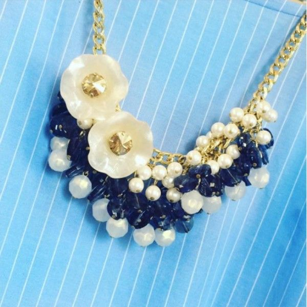 Collana blu con perle Dolman Bijoux