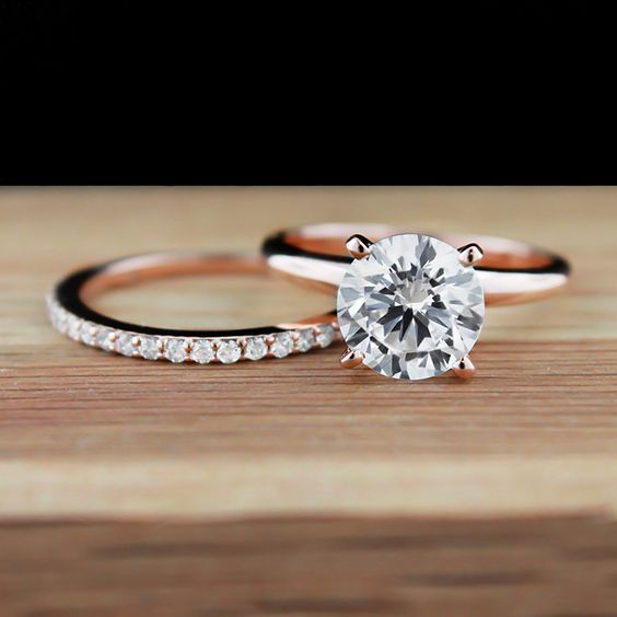 traditional solitaire engagement ring - Solitaire Engagement Ring With Diamond Wedding Band