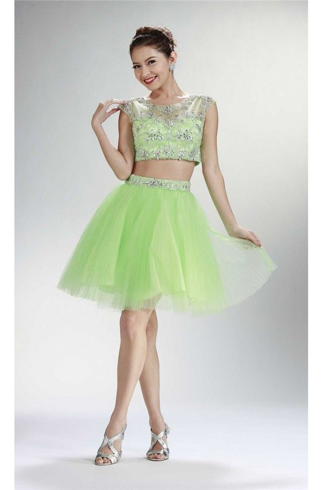 Ball Cap Sleeve Two Piece Short Lime Green Tulle Beaded Prom Dress