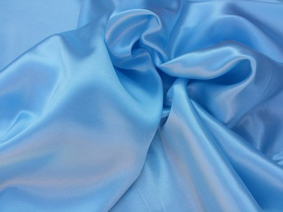Baby Blue plain satin fabric gorgeous quality shiny silky satin fabric Wedding decorations, drapery decor UK Distributor - PER METRE