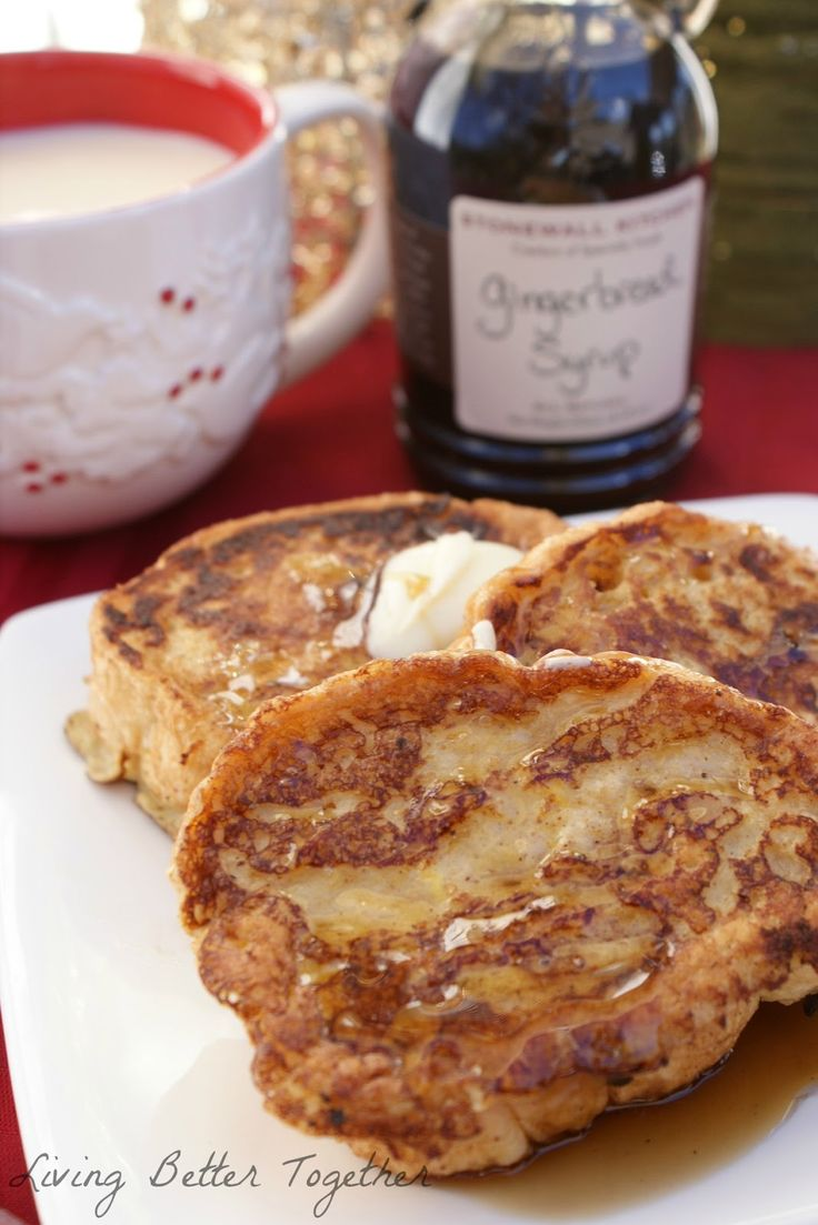 Eggnog French Toast with Gingerbread Syrup by Living Better Together. Fragrant and delicious, the perfect combination of holiday flavors! Soft Eggnog French Toast topped with butter and Stonewall Kitchen's Gingerbread Syrup. #stonewallkitchen