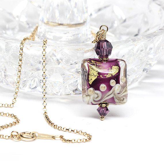 Amethyst Venetian Murano Glass Pendant Purple  by ElandraDesigns