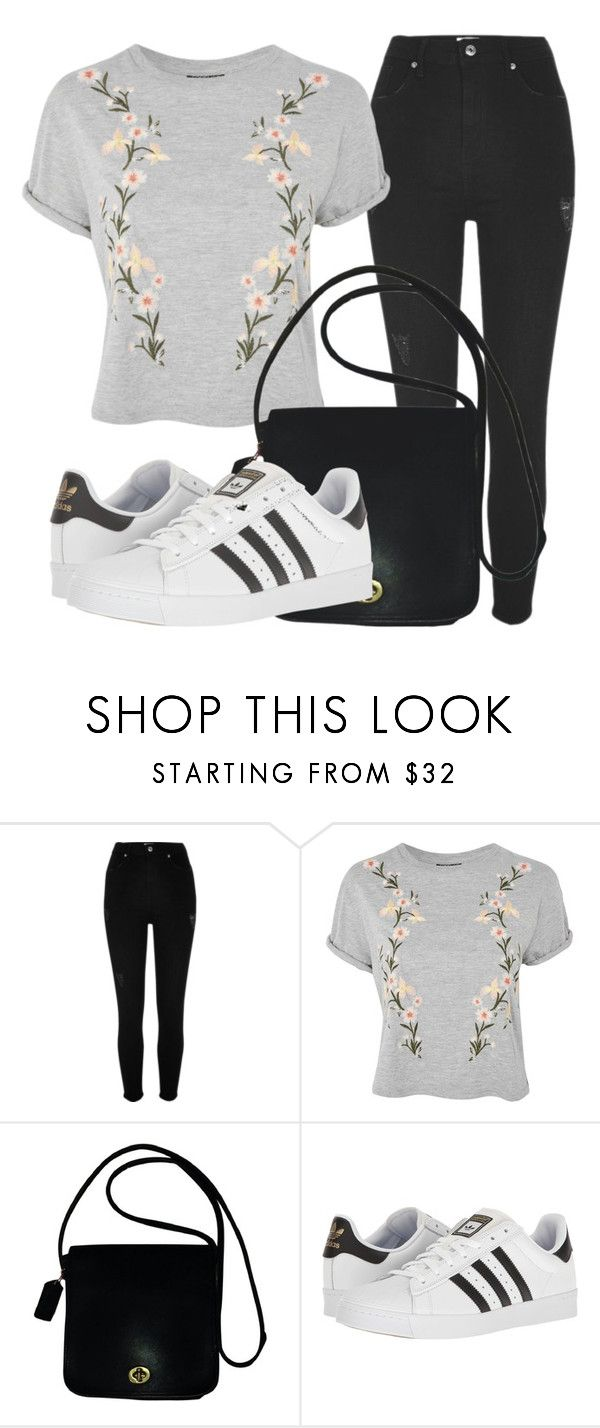 """""""Outfit #1831"""" by lauraandrade98 on Polyvore featuring moda, River Island, Topshop, Coach y adidas"""