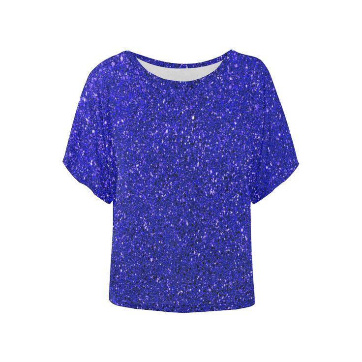 Blue Glitter Women's Batwing-Sleeved Blouse T shirt (Model T44) | ID: D2066755