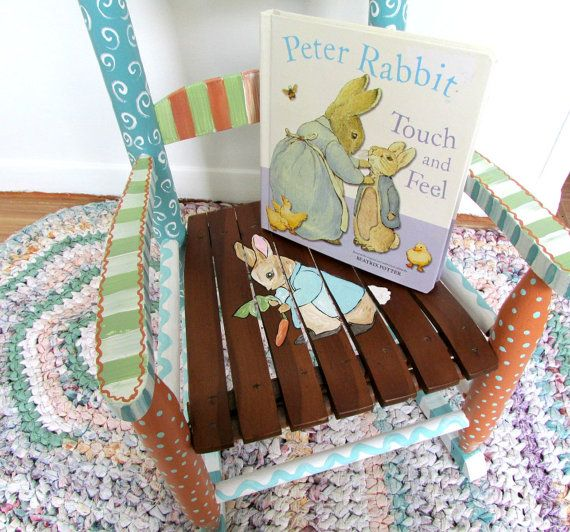 Child Rocking Chair, Painted Furniture,Baby Shower Gift ,Peter Rabbit, Child Rocking Chair, Hand Painted, Benjamin Bunny, Beatrix Potter, on Etsy, $150.00