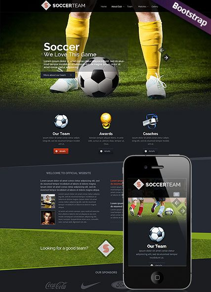 Soccer Club website template, Bootstrap design, responsive html website