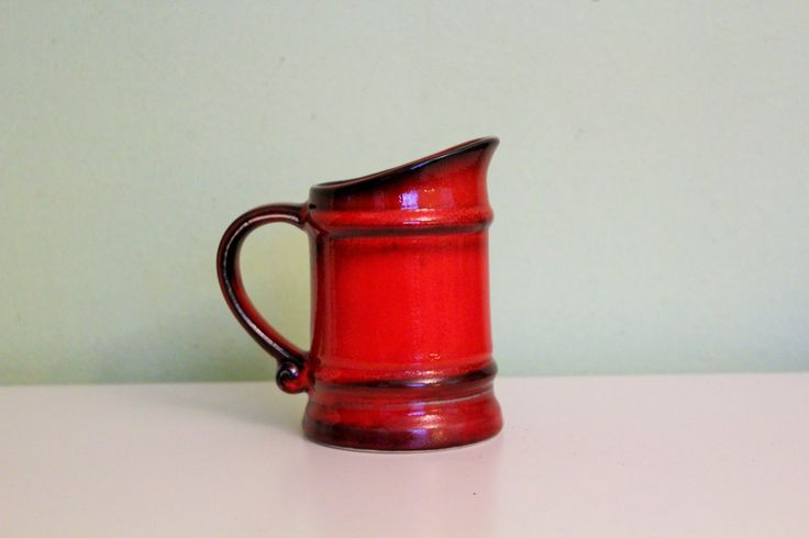 Vintage Red Ceramic Coffee Mug, Tea Mug, Drinking Cup, Beer Stein Red Pottery, German, made in West Germany, Small Pitcher by Grandchildattic on Etsy