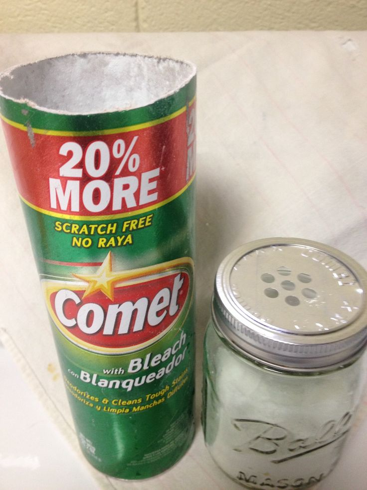 Paperboard cleanser can replacement: cut away aluminum sprinkle-top lid from container; trim cleanser lid to fit a small-mouth canning jar (use a jar lid as a size  guide). Place on jar and secure ring. To store you can use a canning jar lid over the sprinkle-top lid - the ring will fit over both.