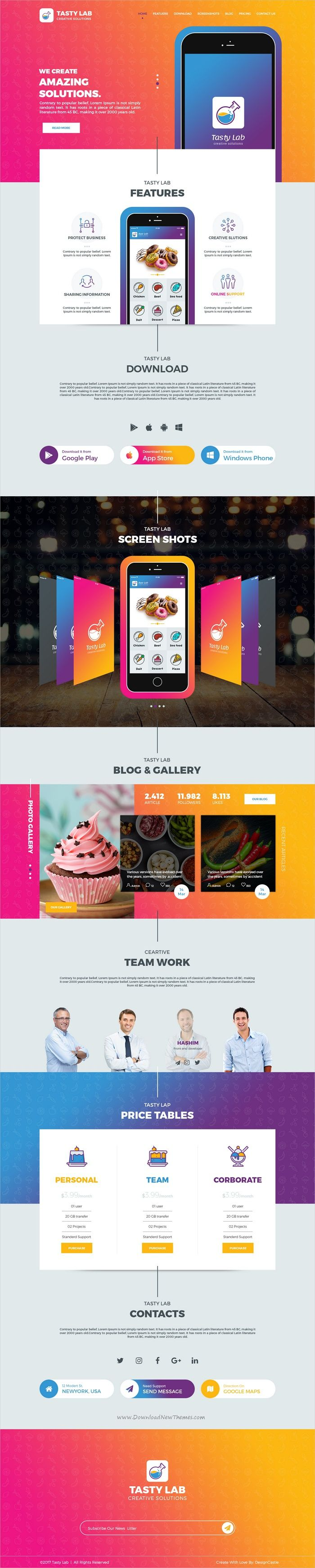TastyLab is a clean and creative design #Photoshop #template for mobile #application landing page website download now➩ https://themeforest.net/item/tastylab-mobile-application-landing-page/19588825?ref=Datasata