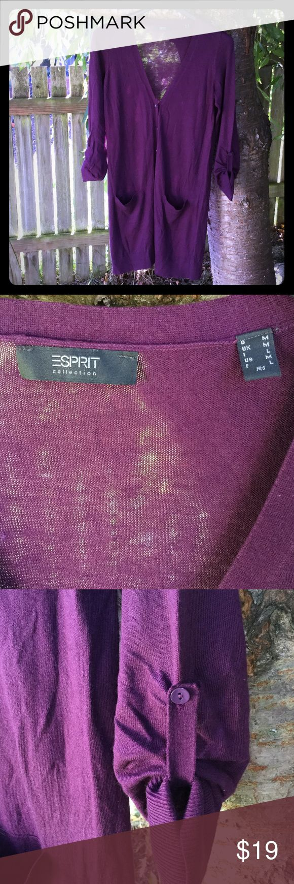 Long cardigan prune/violet ESPRIT size M Stunning color! Stunning style! Great with leggings, skirts, anything. Soft fabric, with pockets and roll-up for sleeves. Great condition! Esprit Sweaters Cardigans