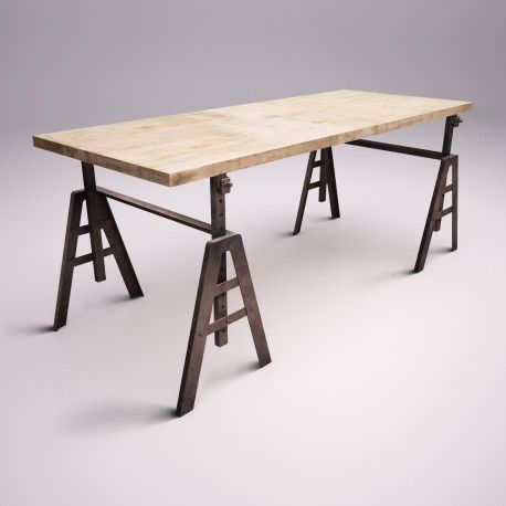 like a vintage. desk with wooden top and regulated bottom.