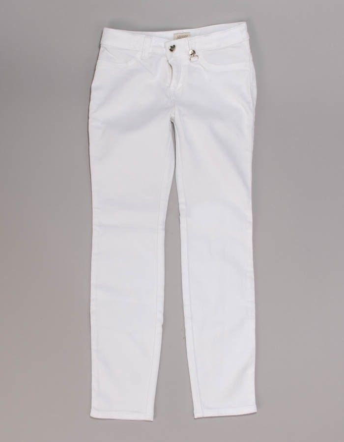 Armani Junior White Gold Logo Jeans   Accent Clothing