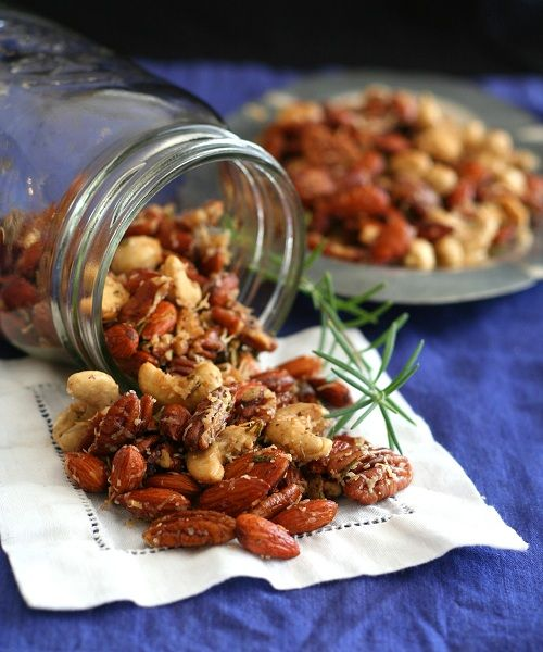 Parmesan Garlic Rosemary Cocktail Nuts. I made these for a party, and they were gobbled up in a heartbeat! Seriously addicting. These would also be a nice gift around the holidays.