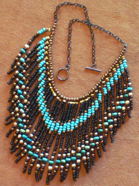Native American tribal style fringed beaded necklace in turquoise, black and gold pearl via Etsy
