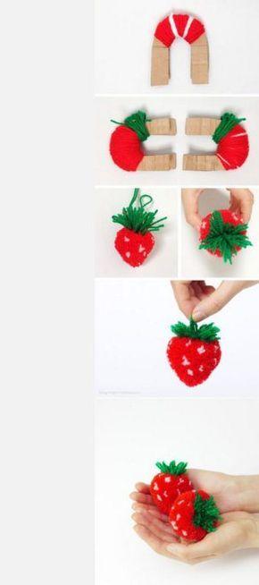 #Pompones de #fruta: como hacer #fresas paso a paso #DIY #HOWTO #artesanía #manualidades #reciclaje