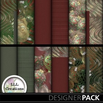 Christmas Ornament Papers #2 by LLL Creations. #scrapbooking #digitalscrapbooking #Christmas #LLLCreations