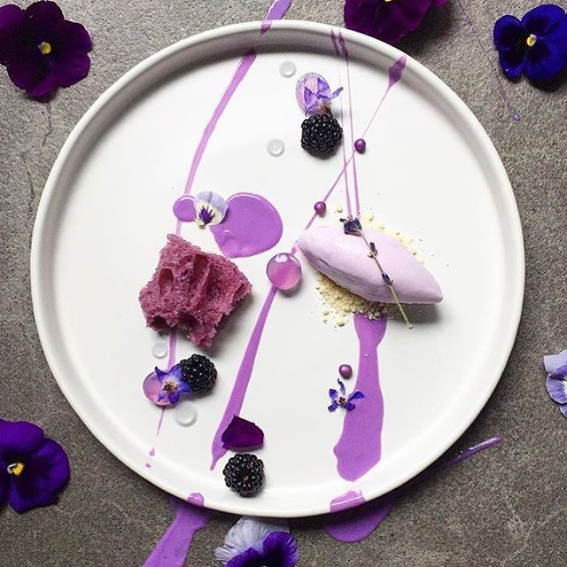 | Lavender Ice Cream • Sponge • Gelée • Gel • Cream With Blackberries And White Chocolate Soil | By @royalebrat Beautiful and artistic lavender textures. Amazing plating!