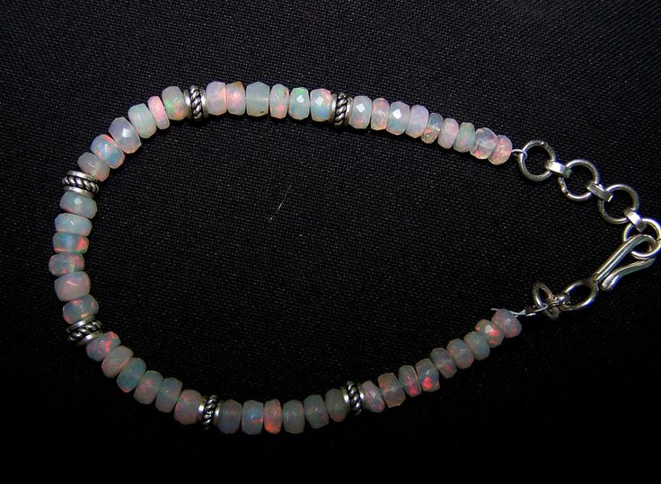 "Multi Rainbow Fire Natural Ethiopian Opal Faceted Bead & Silver Bracelet 8 "" AAA #MyJewelryAffair #Beaded"