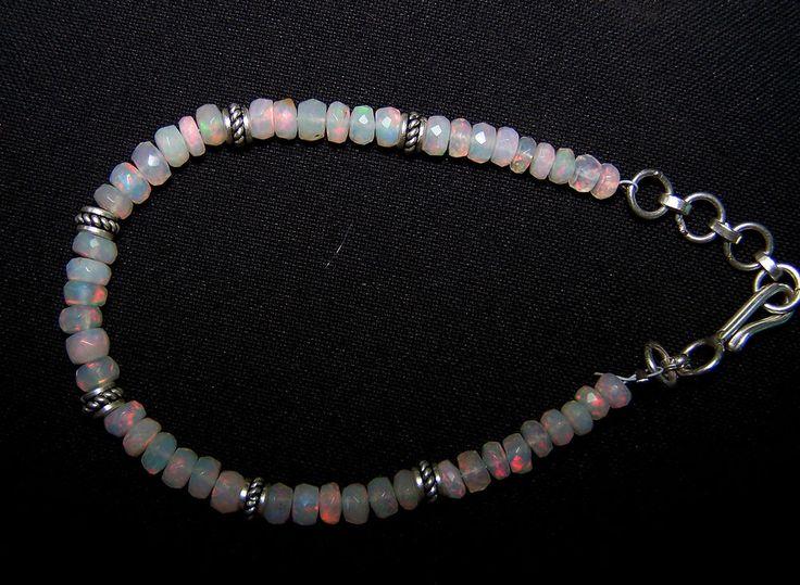 "Multi Rainbow Fire Natural Ethiopian Opal Faceted Bead & Silver Bracelet 8 "" AAA #MyJewelryAffair #Beaded"