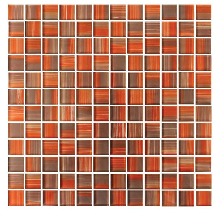Autumn Red, Orange, Brown Hand Painted 1x1 Glass Mosaic