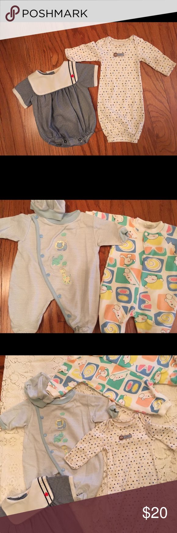 PREEMIE Lot of 4 Preemie boy clothes Gown, sleeper, Sleeper with cap and dress outfit carters & Etc One Pieces