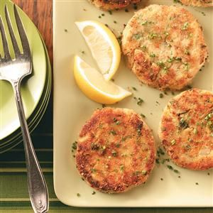 Tuna Zucchini Cakes Recipe -Here's a great combination of seafood and garden vegetables. Friends tell me that they like that it's so colorful and pretty, not to mention so wonderful to eat! —Billie Blanton, Kingsport, Tennessee