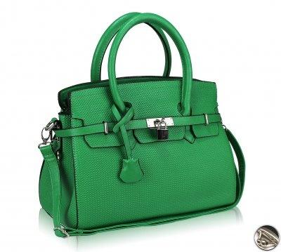 Dámska kabelka kožená, ozdoba zámok, zelená 10405 www ...