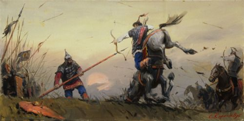 Mongol horse archer dismounted by a Russian pikeman at the Battle of Blue Waters in 1362/63.
