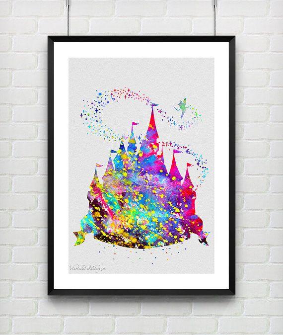 Disney Princess Castle Watercolor Print, Baby Girl Princess Room Wall Art by VIVIDEDITIONS