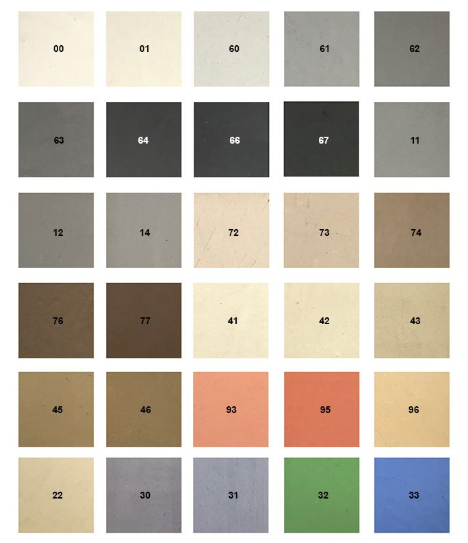 Carament Farbpalette Mit 32 Brillianten Farben Fur Fugenlose Boden Und Badezimmer Aus Mikrozement Beton Cire Betoncire Fugenloser Boden Balkonboden Zement