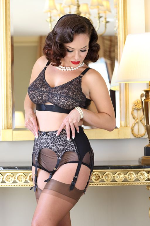 3156421e2d Coquette Lace Garter Belt with lace over bullet bra and retro sheer panty  in black also available in ivory.