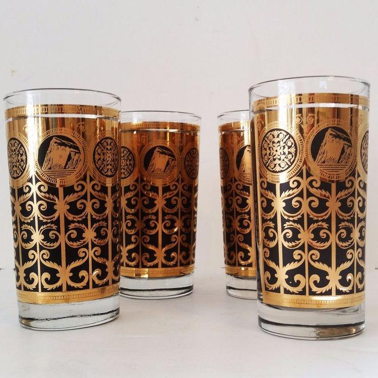 Mid Century Hollywood Regency Style Libbey set of 4 Highball Glasses 24K Gold