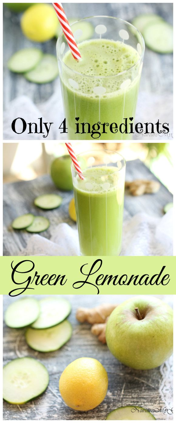 Green Lemonade.  Super easy and healthy.  Made with only cucumber, green apple, lemon and ginger root.  Tastes great and the perfect detox after the holidays!