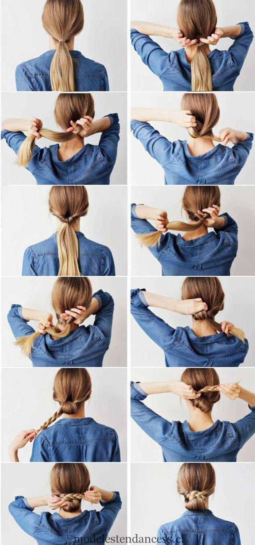 chemise bleue, queue de cheval, chignon tressé, cheveux blonds
