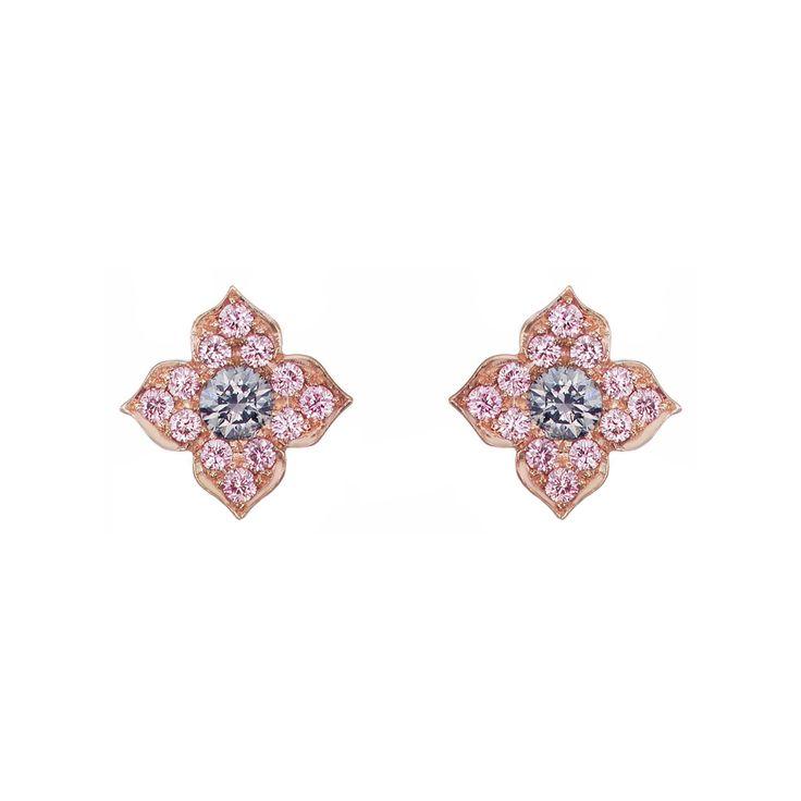 "Argyle+Pink+Diamonds+Blue+&+Pink+Diamond+""Azalea""+Stud+Earrings"