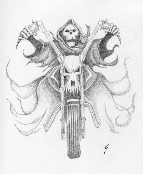 Grim Reaper Bike Tattoo Sketch
