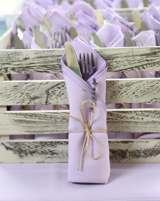 French lavender wedding reception decor