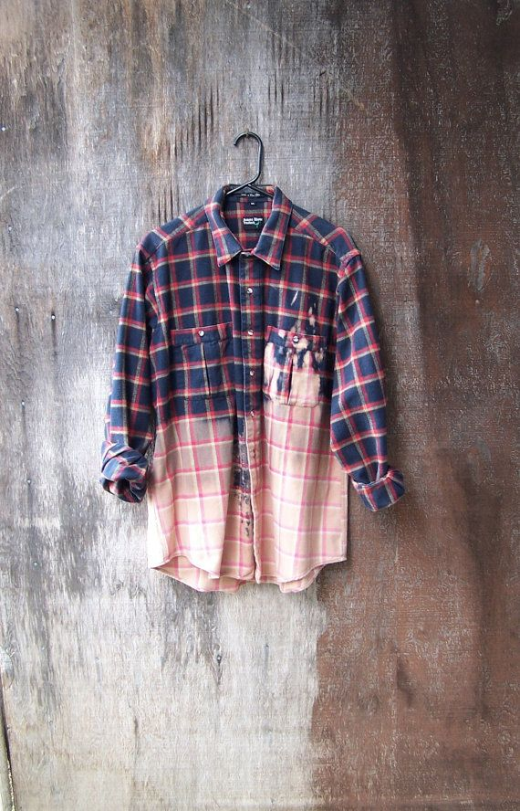 HALF BLEACHED SHIRT thick cotton flannel blue & red plaid dip dye hipster grunge flannel splatter bleached long sleeve upcycled unisex mens on Etsy, $38.00
