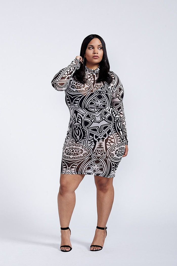 Hedonism Tribal Print Mesh Black And White Long Sleeve Bodycon Dress