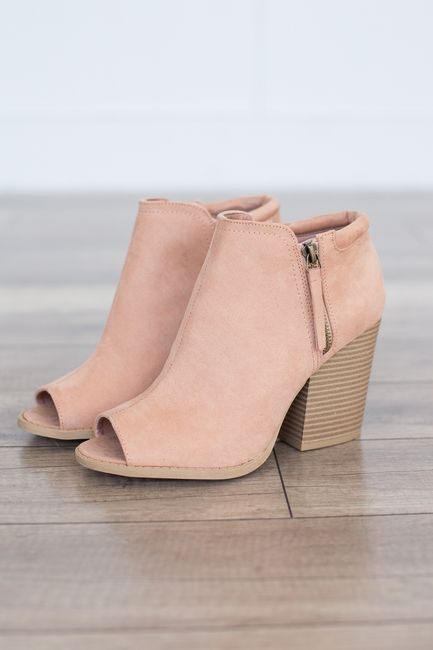 "Faux suede peep toe bootie featuring a side zipper detail and a chunky stacked heel. Man made material. Heel measures 3.5"""" tall. Fits true to size. Style #SBARNES-102ABLUSH"